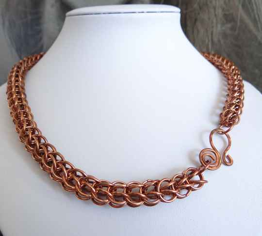 Chainmail collier koper