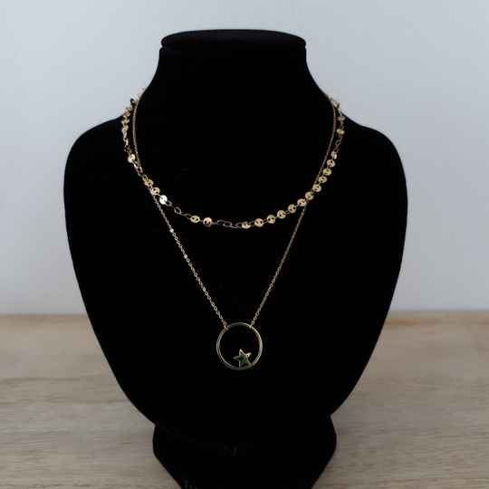 Ketting - two layers - ster / goud