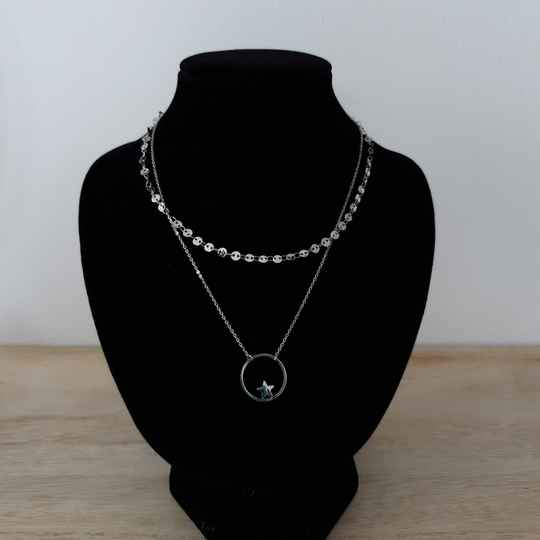Ketting - two layers - ster / zilver