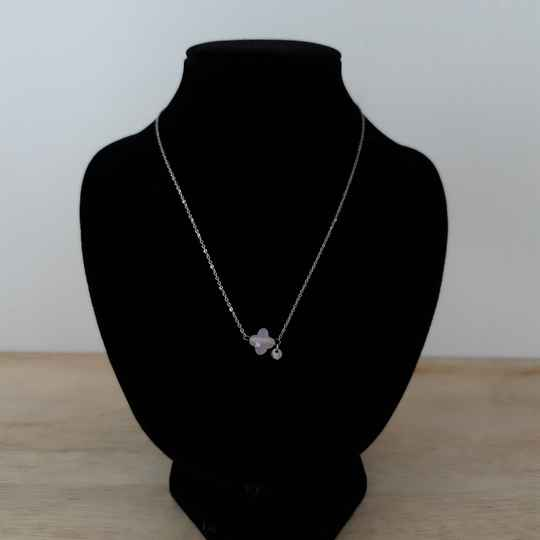 Ketting - pink stone / zilver