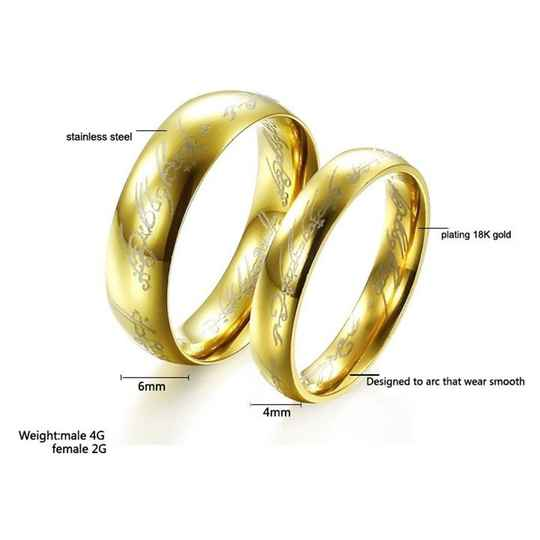 Ring Stainless-Steel Gold - Lord of the Rings