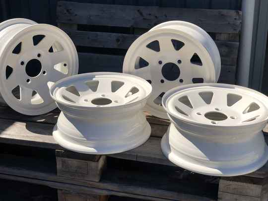 Weller wheels set van 4 velgen 12j wit poedercoating.
