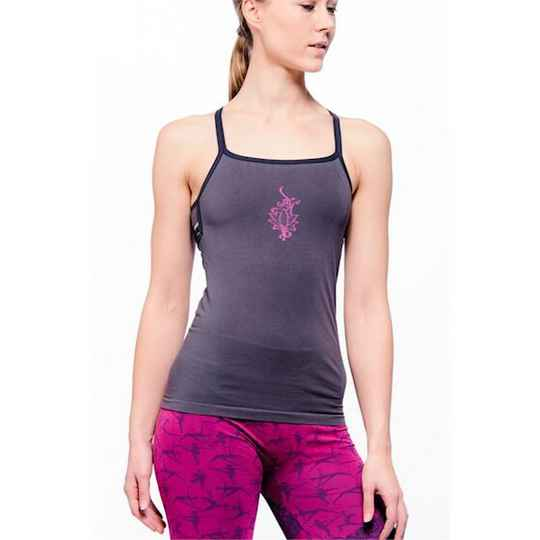 Yoga top Ananda bamboe naadloos donkergrijs S-M of M-L