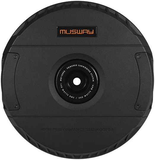 """Musway MW1000A  ACTIVE SUBWOOFER-SYSTEM  WITH 28 CM (11"""") SUBWOOFER  FOR THE EMERGENCY WHEEL RIM BED"""