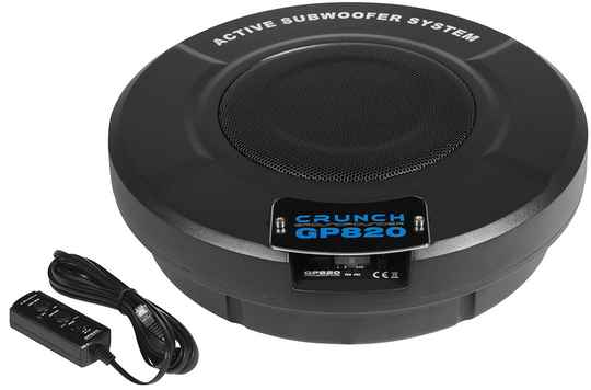 """GP820 Crunch 20 cm (8"""") Active Subwoofer System  for Spare Wheels/Rim Beds (from 15 inches)"""