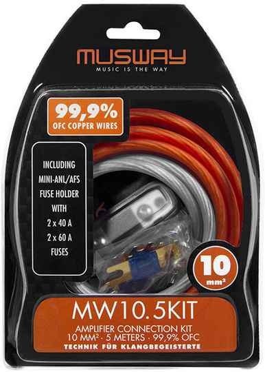 Musway MW10.5KIT 10 MM2 AMPLIFIER CONNECTION KIT, 5 METERS  MADE FROM HIGHLY CONDUCTIVE FULL COPPER (99,9% OFC)