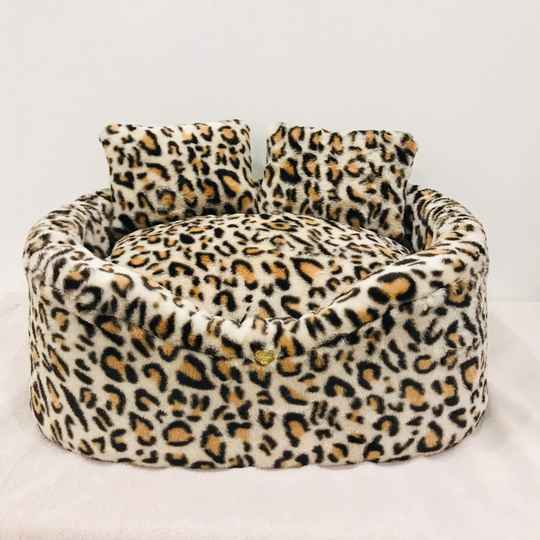 Only Cover of Fur Bed Leopard Cream