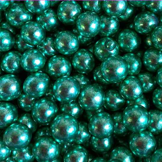 Metallic pearls green large