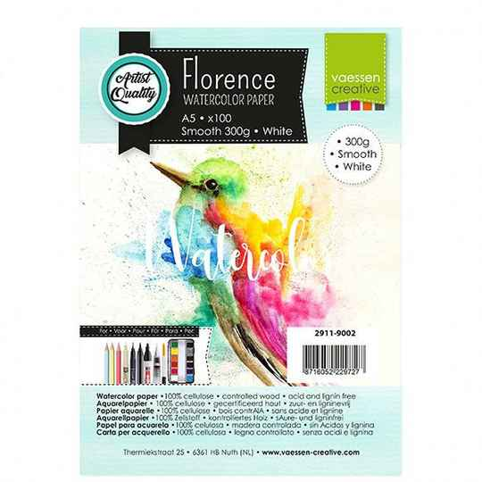 Vaessen Creative - Florence watercolor paper - A5 300g smooth withe - 15 vellen