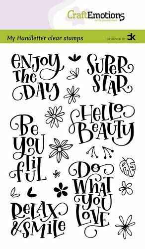 Craftemotions clear stamps A6 - Enjoy the day - Super Star (Eng) - Carla Kamphuis
