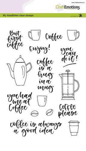 Craftemotions clear stamps A5 - Coffee please  (Eng) - Carla Kamphuis