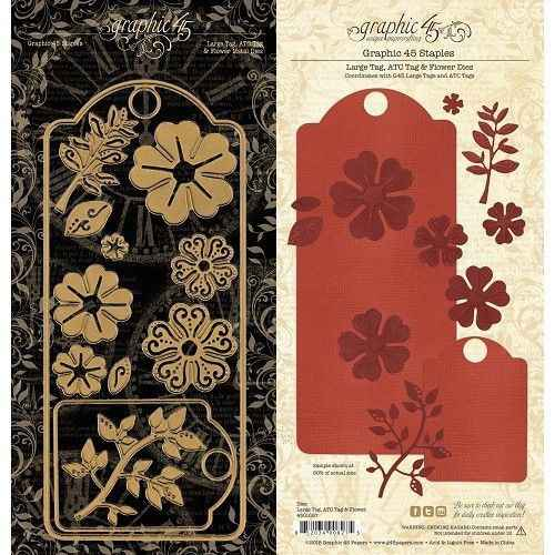 Graphic 45 Large Tag, ATC Tag and Flower dies