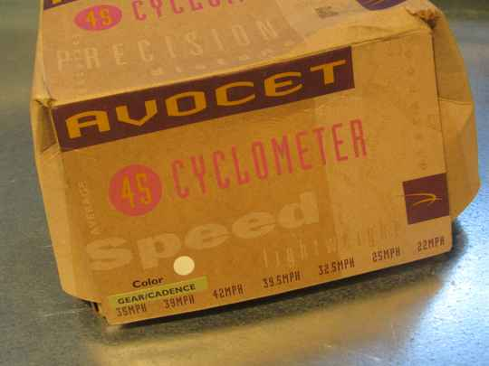 AVOCET 45 WHITE ( MARBLE ) CYCLOMETER GEAR CADENCE NOS! SC001 55 - 12/06/1