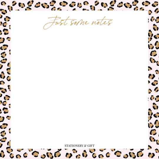 Pink leopard Notes Vierkant!