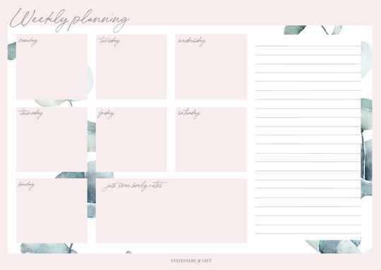 Weekly Planner | Pink & Green Collection