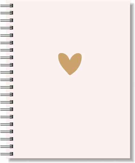 Notebook A5 Softcover | Pink & Brown Heart