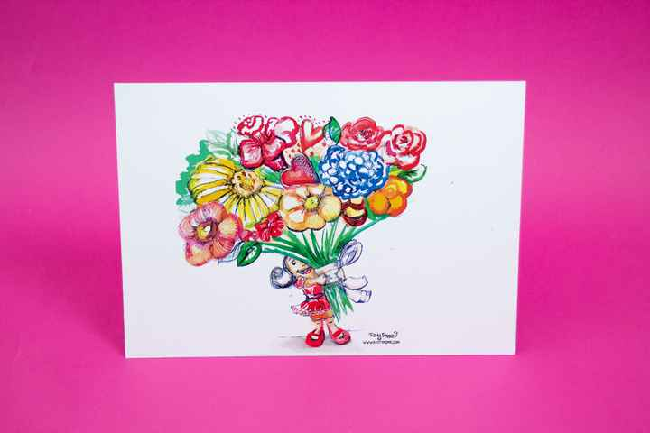 Set of 5 -Flowers for you - A5 Print