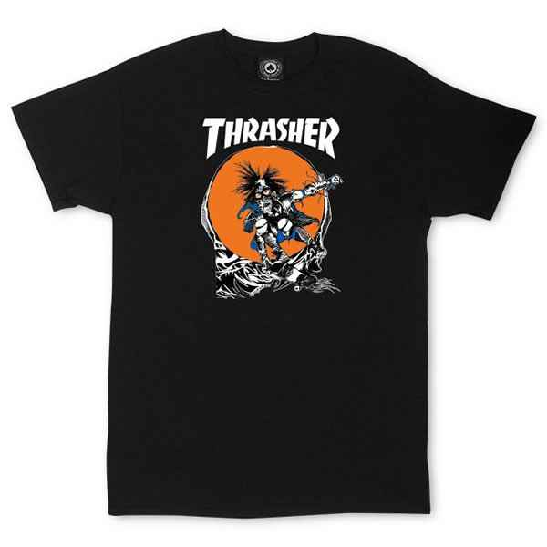 Thrasher Skate Outlaw T-Shirt By Pushead - Black