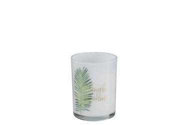 Geurkaars Tropical Glas Wit/Groen Small-40u