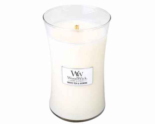 WoodWick White Tea & Jasmine Large Candle.