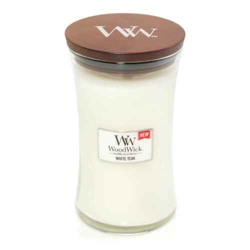 WoodWick Large Candle White Teak