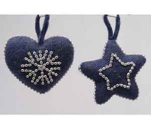 Decoris Kerst ornament wol ster of hart