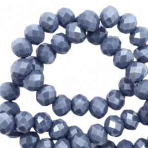 Top kralen 4x3 mm Light denim blue-pearl shine coating (50 stuks) (56356)