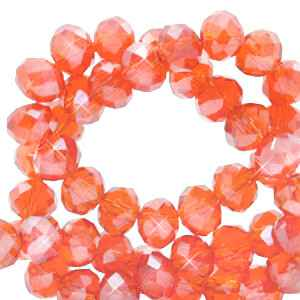 Facet kralen 3x2 mm Fireopal orange-pearl shine coating (60 stuks) (70195)