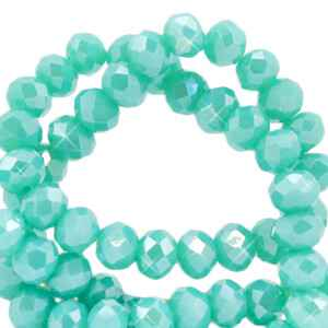 Facet kralen 3x2 mm Light teal green-half diamond coating (60 stuks) (68100)