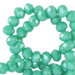 Facet kralen 3x2 mm Emerald turquoise green-pearl shine coating (60 stuks) (64205)