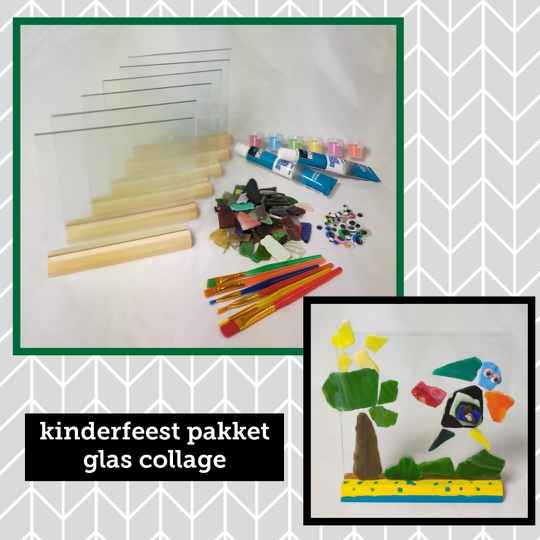 Kinderfeest knutselpakket * Glas collage *