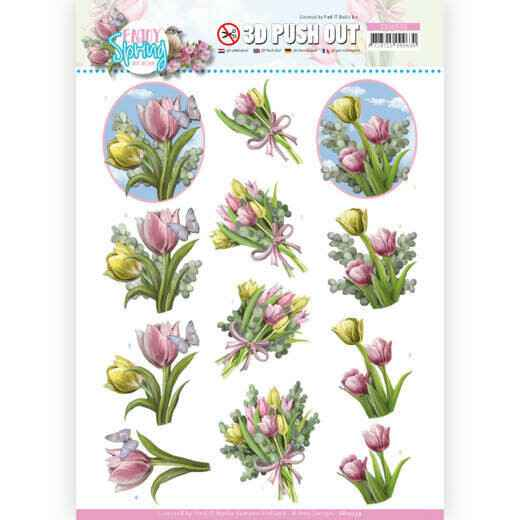 3D Push Out - Amy Design - Enjoy Spring - Bouquets of Tulips   SB10539