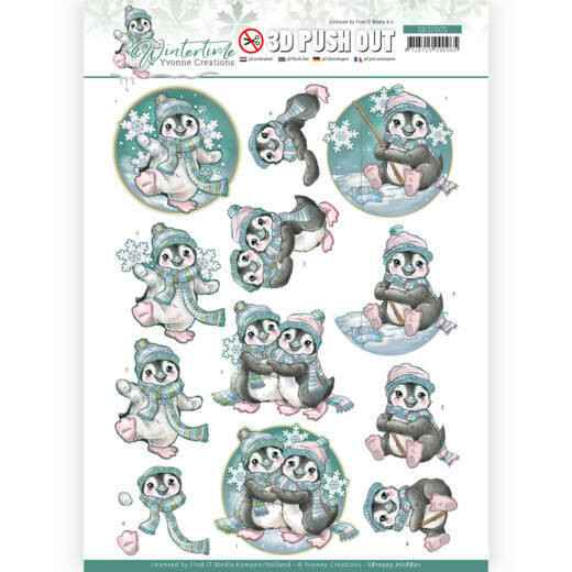 3D Push Out - Yvonne Creations - Winter Time - Penguin  SB10505-HJ18801