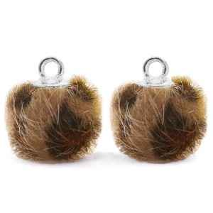 Bedels pompom met oog 12mm Chocolate brown-silver  - POM18738