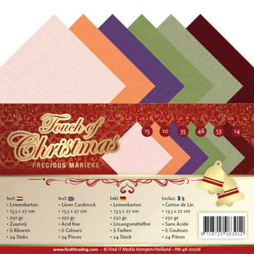 Linen Cardstock Pack - 4K - Precious Marieke - Touch of Christmas  PM-4K-10026