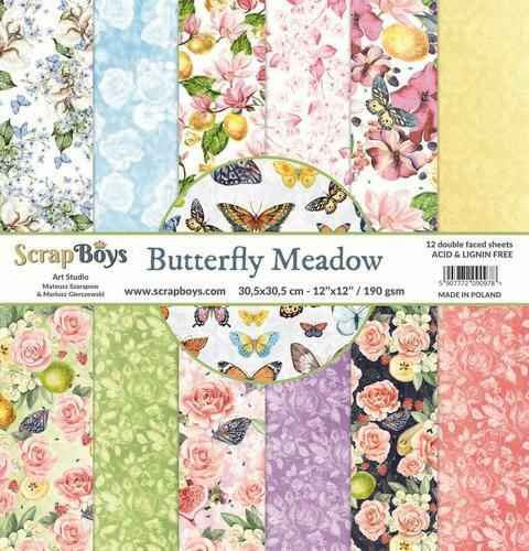 ScrapBoys Butterfly Meadow paperset 12 vl+cut out elements - 30,5 x 30,5cm
