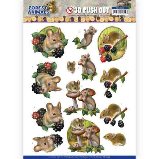 3D Push Out - Amy Design Forest Animals - Mouse   SB10536
