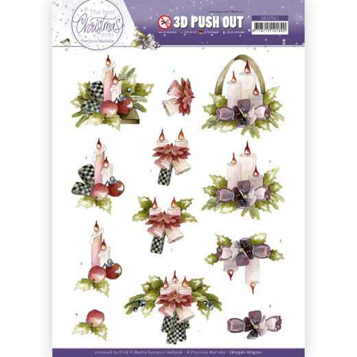 3D Push Out - Precious Marieke - The Best Christmas Ever - Purple Flowers and Candles  SB10561 - HJ19701