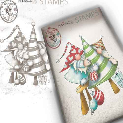 Polkadoodles stamp Gnome - Decorating the tree -  PD7950
