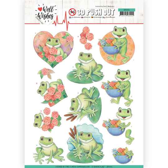 3D Pushout - Jeanine's Art - Well Wishes - Frogs   SB10426