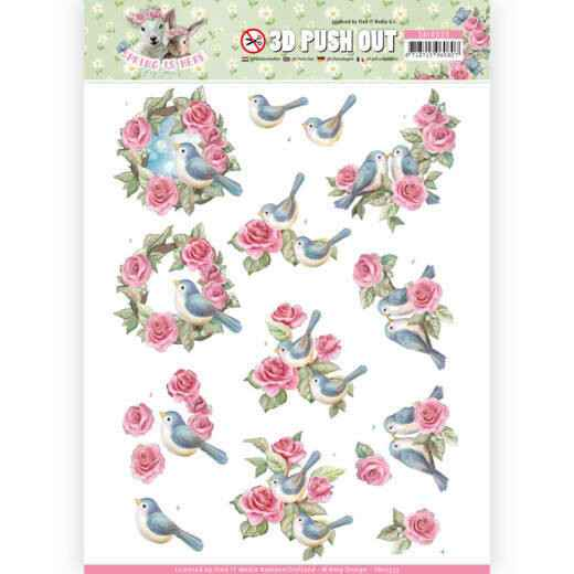 3D Pushout - Amy Design - Spring is Here - Birds and Roses - SB10333