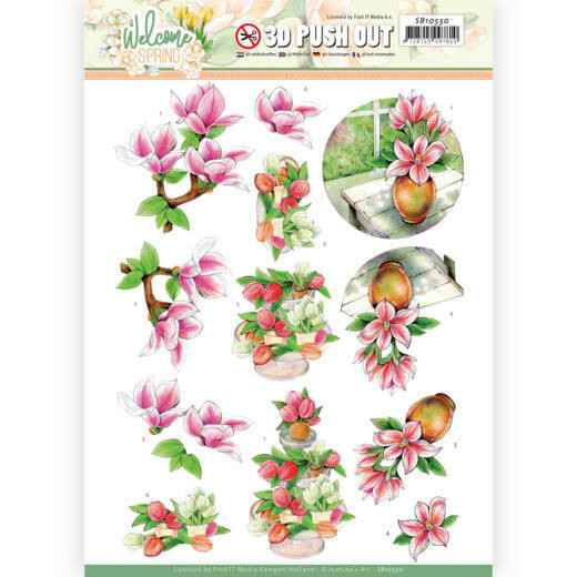 3D Push Out - Jeanine's Art Welcome Spring - Pink Magnolia  SB10530