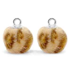Bedels pompom met oog 12mm Camel brown-silver  - POM18721