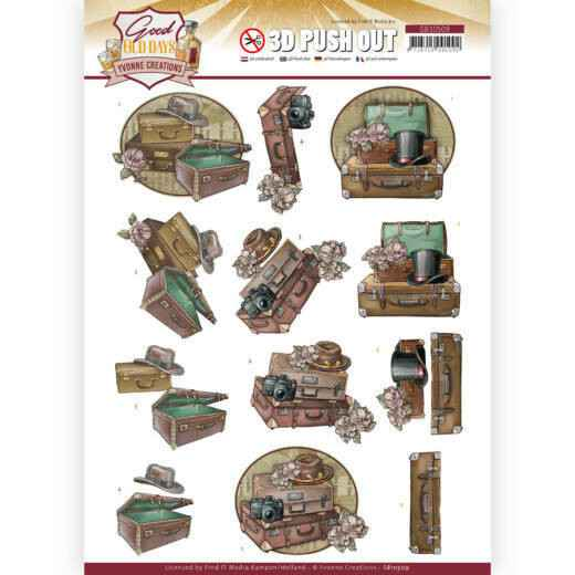 3D Push Out - Yvonne Creations - Good old day's - Suitcase    SB10509