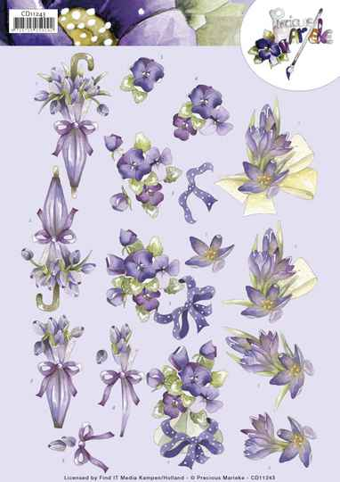 3D Knipvel - Precious Marieke - Flowers in Purple  CD11243