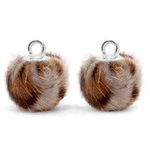 Bedels pompom met oog 12mm Taupe brown-silver  - POM18722