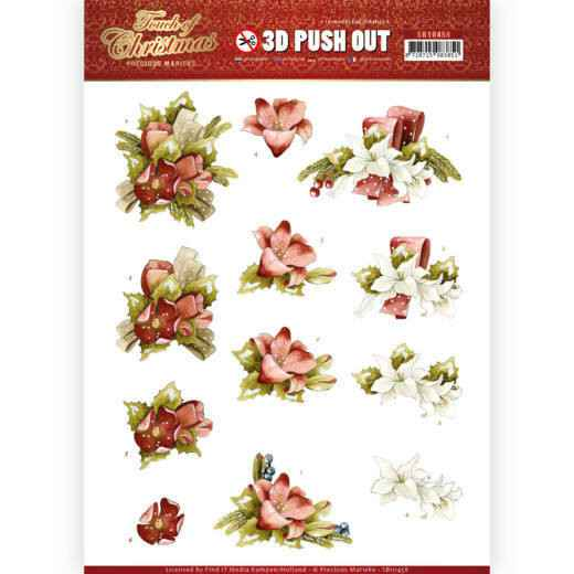 3D Push Out - Precious Marieke - Touch of Christmas - Red Flowers  SB10458