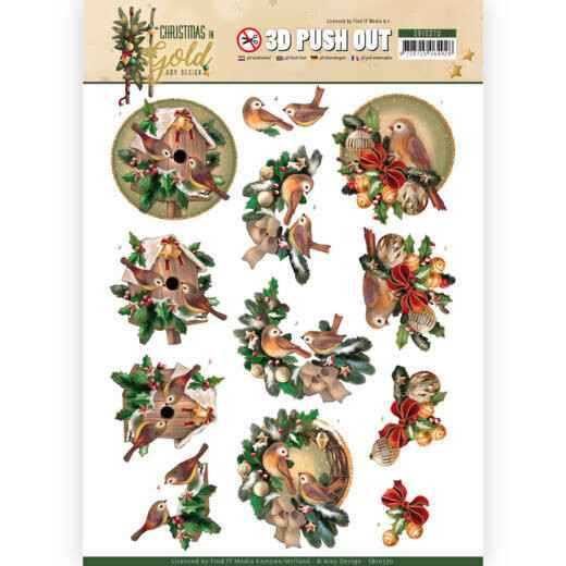 3D Pushout - Amy Design - Christmas in Gold - Birds in Gold  SB10370