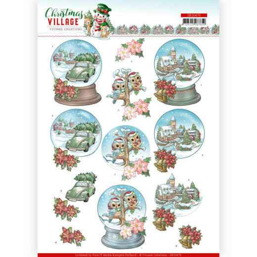 3D Push Out - Yvonne Creations - Christmas Village - Christmas Globes   SB10476