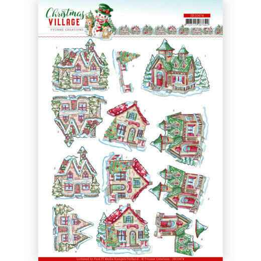 3D Push Out - Yvonne Creations - Christmas Village - Christmas Houses   SB10474